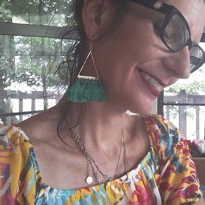 Super Fun Triangle Green Tassle Earrings! Nwt